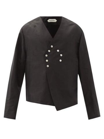 Matchesfashion.com Namacheko - Skaftbladen Buttoned Linen-blend Jacket - Mens - Black