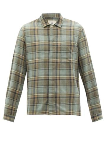 Matchesfashion.com Folk - Patch Check Cotton-twill Shirt - Mens - Khaki Multi