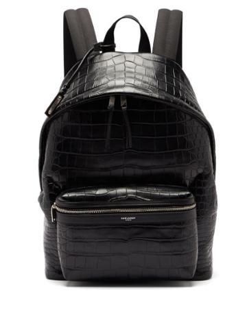 Matchesfashion.com Saint Laurent - City Crocodile-effect Leather Backpack - Mens - Black