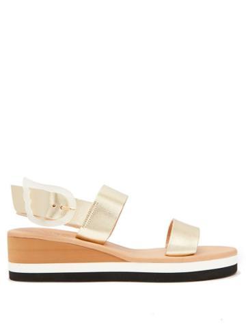 Matchesfashion.com Ancient Greek Sandals - Clio Rainbow Wedge Heel Leather Sandals - Womens - Gold