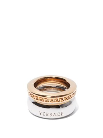 Matchesfashion.com Versace - Greca Gold & Silver-tone Ring - Womens - Silver Gold