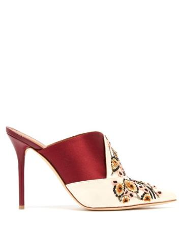Matchesfashion.com Malone Souliers By Roy Luwolt - Portia Embroidered Satin Mules - Womens - Burgundy Multi