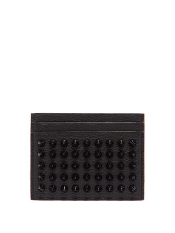 Matchesfashion.com Christian Louboutin - Kios Cone-stud Leather Cardholder - Womens - Black