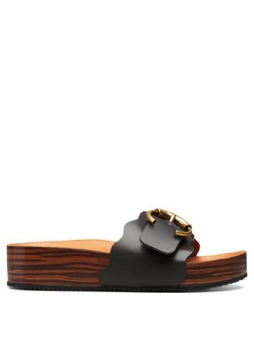 Matchesfashion.com Chlo - Lauren Wooden-sole Leather Slides - Womens - Black