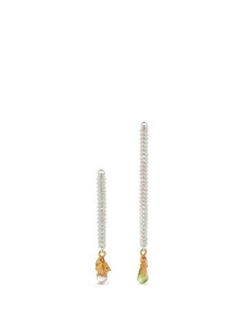 Alighieri - Mismatched Pearl And Peridot Drop Earrings - Womens - Silver Multi