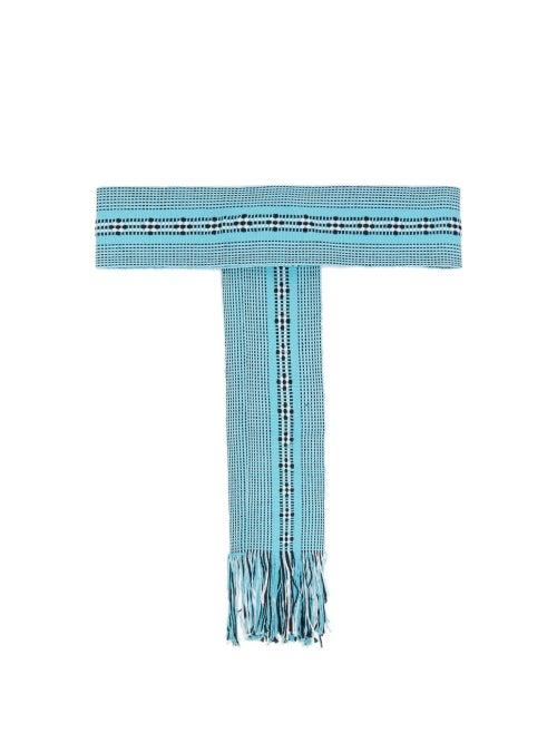 Matchesfashion.com Pippa Holt - Fringed Handwoven Cotton Belt - Womens - Light Blue