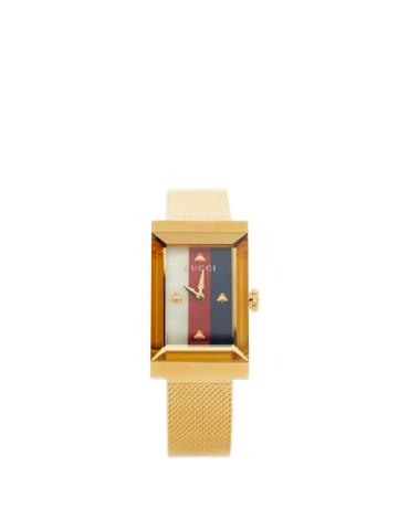 Matchesfashion.com Gucci - G-frame Sylvie Web-striped Watch - Womens - Gold