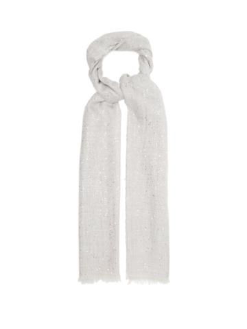 Matchesfashion.com Brunello Cucinelli - Sequinned Wool-blend Scarf - Womens - Light Grey