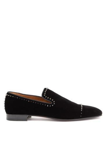 Matchesfashion.com Christian Louboutin - Dandeton Studded Velvet Loafers - Mens - Black