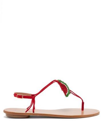 Matchesfashion.com Aquazzura - Patillita Beaded Leather Sandals - Womens - Red Multi