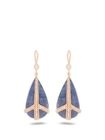 Jacquie Aiche Diamond, Sapphire & Rose-gold Earrings