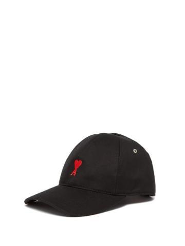 Matchesfashion.com Ami - Logo Embroidered Cotton Baseball Cap - Mens - Black