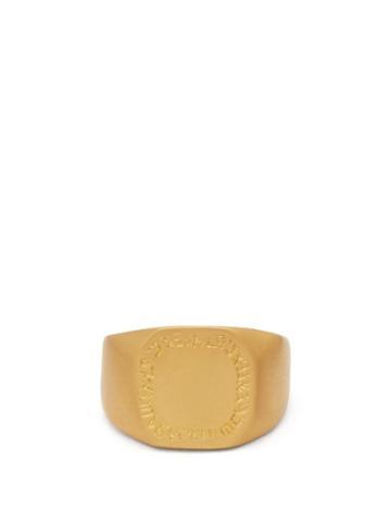 Matchesfashion.com Eli Halili - Octagon Engraved 22kt Gold Signet Ring - Womens - Gold