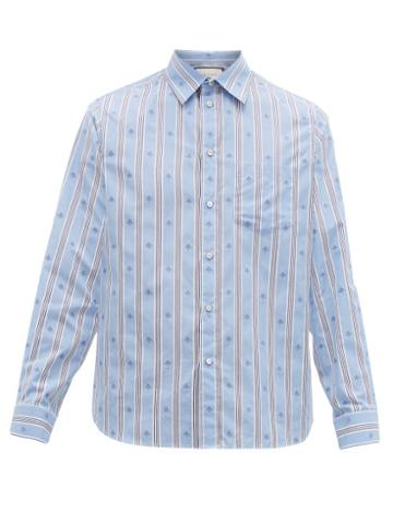 Matchesfashion.com Gucci - Striped Intarsia Bee Cotton Poplin Shirt - Mens - Blue Multi