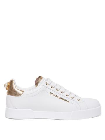Matchesfashion.com Dolce & Gabbana - Logo-plaque & Faux-pearl Leather Trainers - Womens - White Gold