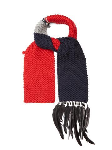 Prada Feather-embellished Wool Scarf