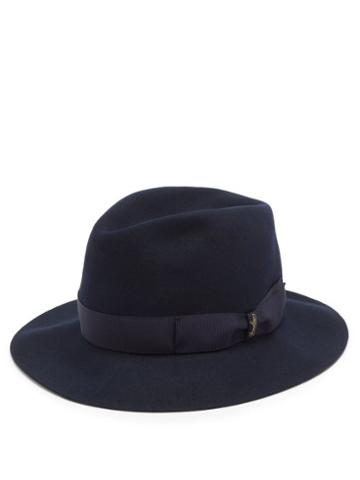 Matchesfashion.com Borsalino - Ribbon-trimmed Fedora Hat - Mens - Navy