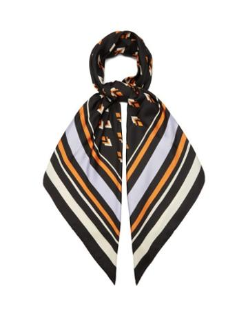 Matchesfashion.com Valentino Garavani - Geometric-print Silk-faille Scarf - Womens - Black Multi