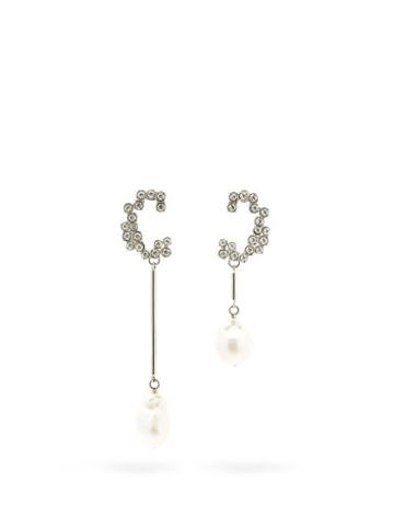 Matchesfashion.com Chlo - Crystal And Baroque-pearl C Earrings - Womens - Crystal