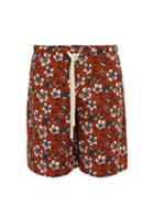 Matchesfashion.com Loewe - Floral Print Drawstring Shorts - Mens - Black Brown