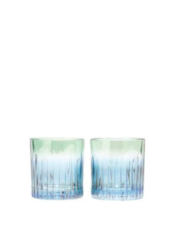 Matchesfashion.com Luisa Beccaria - Set Of Two Gradient Water Glasses - Green Multi