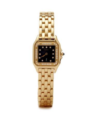 Jacquie Aiche - Vintage Panthre De Cartier Diamond & Gold Watch - Womens - Black Gold