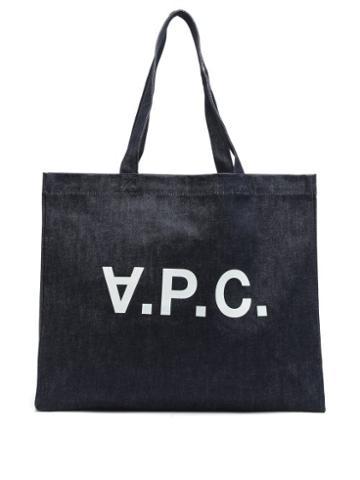 Matchesfashion.com A.p.c. - Logo-print Denim Tote Bag - Womens - Indigo
