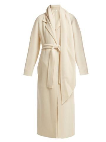 Matchesfashion.com The Row - Tooman Long Line Cashmere And Wool Blend Coat - Womens - Cream