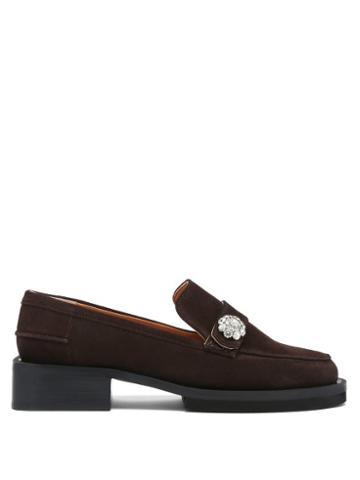 Matchesfashion.com Ganni - Crystal-embellished Suede Loafers - Womens - Dark Brown