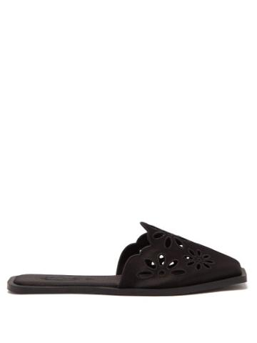 Ladies Shoes Carlotha Ray - Floral-embroidered Satin Slippers - Womens - Black