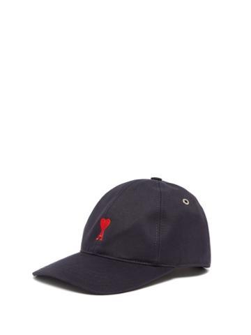 Matchesfashion.com Ami - Logo Embroidered Cotton Baseball Cap - Mens - Navy