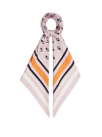 Matchesfashion.com Valentino Garavani - Geometric-print Silk Scarf - Womens - Pink Multi