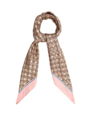 Gucci Gg Bee-jacquard Silk-twill Scarf