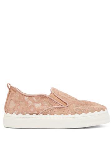Matchesfashion.com Chlo - Lauren Scallop-edge Logo-lace Slip-on Trainers - Womens - Pink
