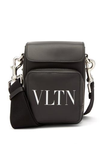 Valentino Garavani - Vltn-logo Leather Cross-body Bag - Mens - Black White