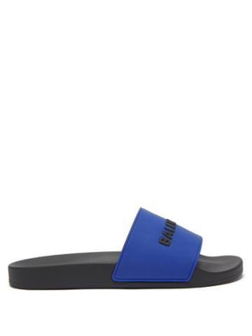 Balenciaga - Logo-embossed Rubber Slides - Mens - Black Blue