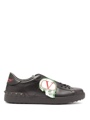 Matchesfashion.com Valentino - X Undercover Skull Appliqu Leather Trainers - Mens - Black