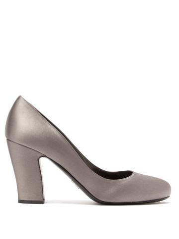 Matchesfashion.com Prada - Block Heel Satin Pumps - Womens - Grey