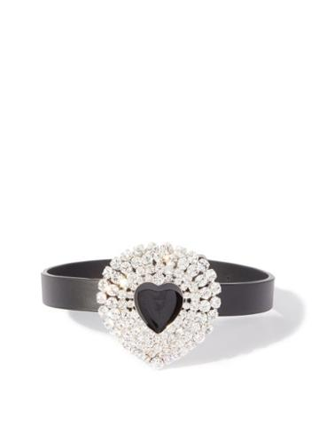 Matchesfashion.com Alessandra Rich - Crystal-embellished Heart Leather Choker - Womens - Black Multi