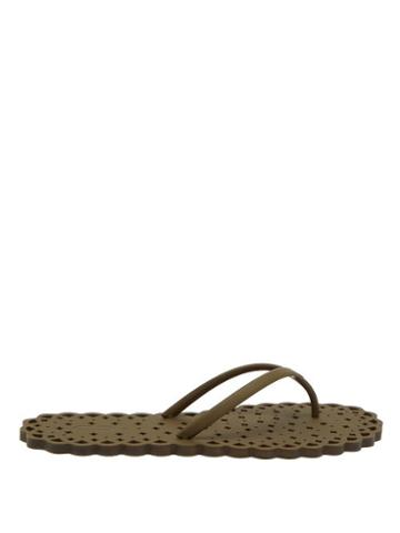 Ladies Shoes Carlotha Ray - Laser-cut Rubber Flip Flops - Womens - Green