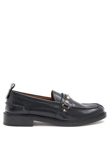 Matchesfashion.com Valentino Garavani - Rockstud Leather Penny Loafers - Womens - Black