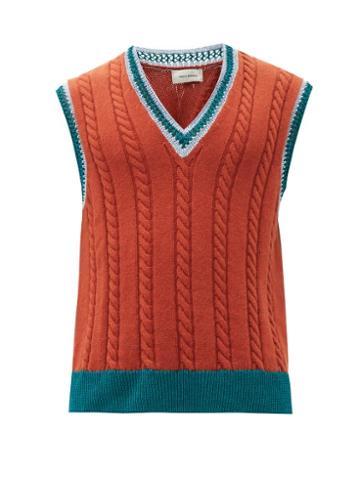 Matchesfashion.com Wales Bonner - Parish Alpaca-blend Vest - Mens - Red