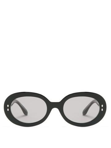 Matchesfashion.com Isabel Marant Eyewear - Trendy Oval Acetate Sunglasses - Womens - Black