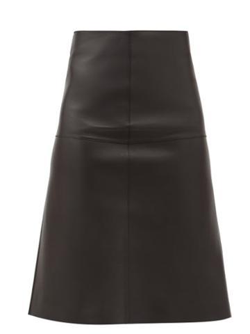 Matchesfashion.com Totme - High-rise Leather Midi Skirt - Womens - Black