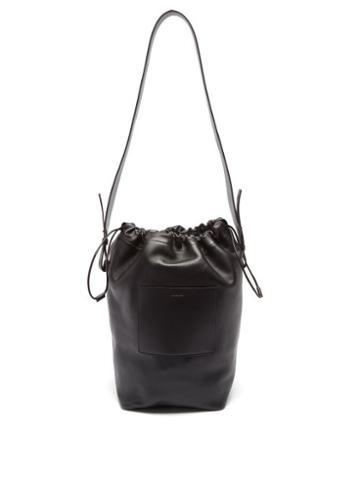 Jil Sander - Drawstring Leather Shoulder Bag - Mens - Black