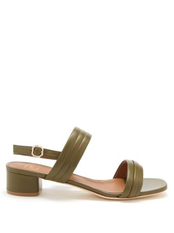 Malone Souliers - Sana Block-heel Leather Slingback Sandals - Womens - Green