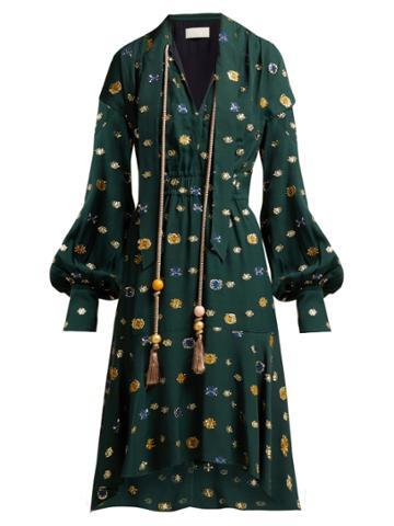Peter Pilotto Floral Fil-coup Crepe Dress