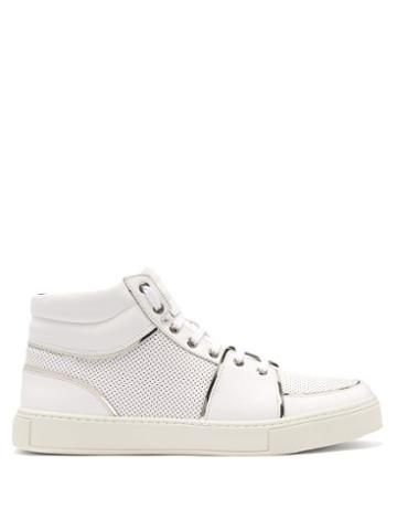 Matchesfashion.com Balmain - Perforated High Top Leather Trainers - Mens - White