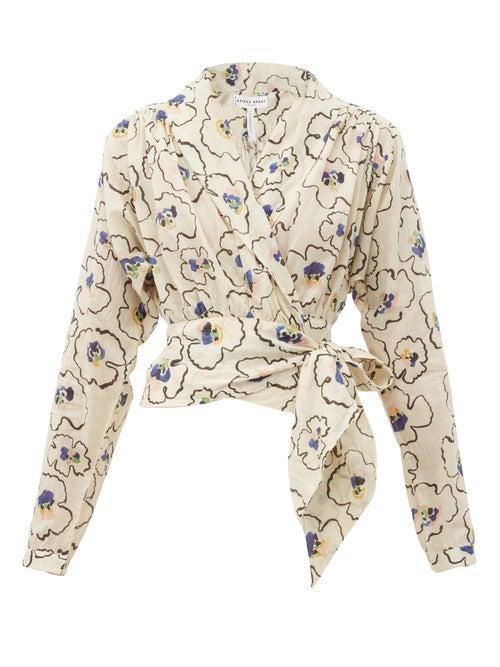 Matchesfashion.com Apiece Apart - Greta Floral-printed Organic-cotton Poplin Top - Womens - Cream Multi