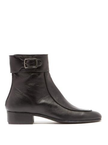 Matchesfashion.com Saint Laurent - Miles Leather Ankle Boots - Womens - Black